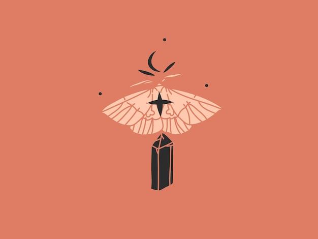 Ilustração abstrata com arte mágica boêmia celestial de lua crescente, borboleta e cristal