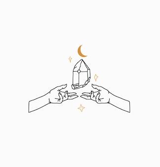 Ilustração abstrata com elemento de logotipo, arte de linha mágica de pedra de cristal, mãos humanas e estrela