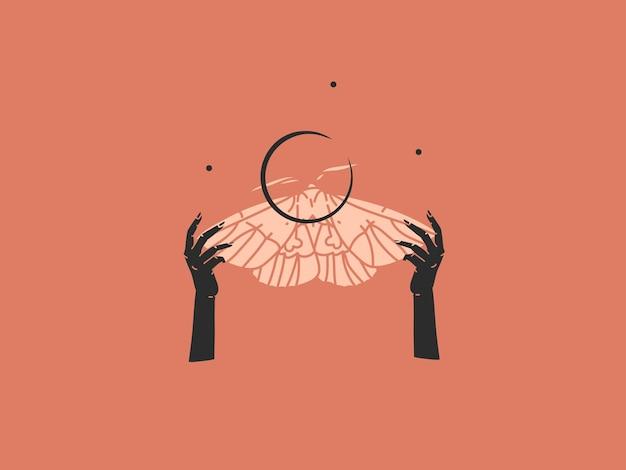 Ilustração abstrata com elemento de logotipo, arte mágica boêmia do crescente, silhueta de borboleta
