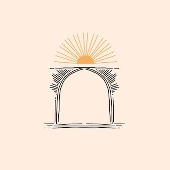 Ilustração abstrata com elemento de logotipo, emblema mágico de astrologia do portal de arco de linha mística