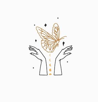 Ilustração abstrata com logotipo da marca, arte boêmia de magia celestial de borboleta, fase da lua