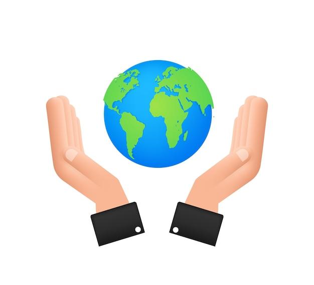 Ilustração abstrata com terra nas mãos. feliz dia da terra. sinal do planeta. desenhar a mão.