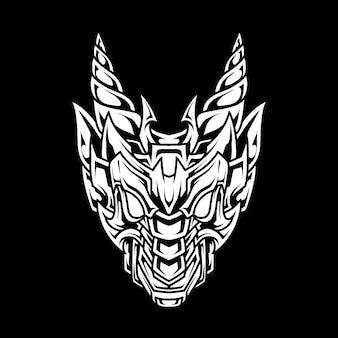 Ilustração abstrata da arte da linha do dragão com chifres
