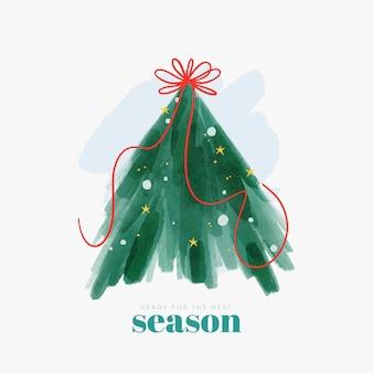 Ilustração abstrata da árvore de natal com fita