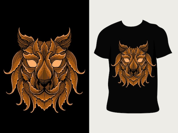 Ilustração abstrata da cabeça do tigre com design de camiseta