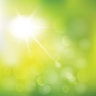 Ilustração abstrata da luz solar do verão. céu ensolarado fundo verde com luzes desfocadas. efeito de luz de reflexo de lente solar especial.