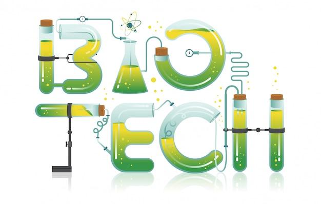 Ilustração abstrata da palavra biotech