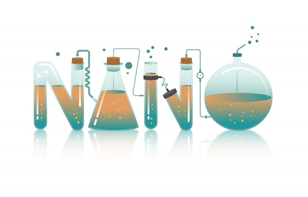 Ilustração abstrata da palavra nano i