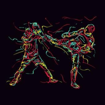 Ilustração abstrata da prática de artes marciais