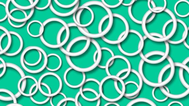 Ilustração abstrata de anéis brancos dispostos aleatoriamente com sombras suaves em fundo turquesa