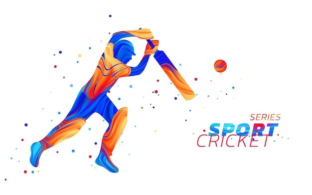 Ilustração abstrata de batedor jogando críquete com respingos de líquido colorido
