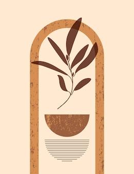 Ilustração abstrata de boho com arco e formas abstratas em estilo moderno e minimalista. fundo contemporâneo vetorial em cores neutras para pôsteres de arte em paredes, impressão de camisetas, capa, histórias em mídias sociais