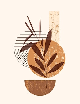 Ilustração abstrata de boho com formas abstratas e folhas em um estilo moderno e minimalista. fundo contemporâneo vetorial em cores neutras para pôsteres de arte em paredes, impressão de camisetas, capa, histórias em mídias sociais