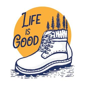 Ilustração abstrata de bota de caminhada