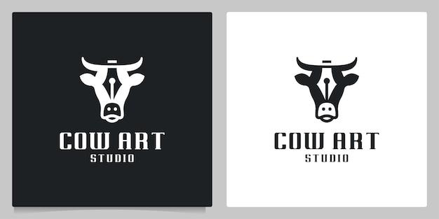 Ilustração abstrata de design de logotipo de espaço negativo de cabeça de vaca e caneta