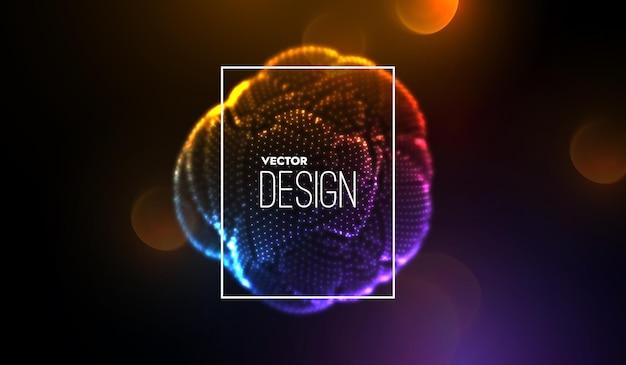 Ilustração abstrata de forma esférica brilhante de néon 3d