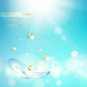 Ilustração abstrata de lente ótica azul.