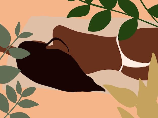 Ilustração abstrata de moda boho com mulher adormecida. pôster tropical em estilo minimalista