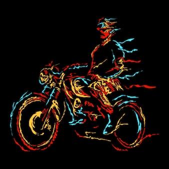 Ilustração abstrata de motociclistas