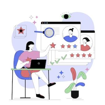 Ilustração abstrata de pessoa dando feedback