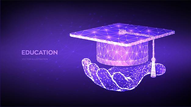 Ilustração abstrata de tampa de graduação poligonal baixa