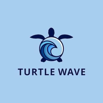 Ilustração abstrata de tartaruga de arte de linha moderna com uma onda azul no design do logotipo do símbolo do corpo