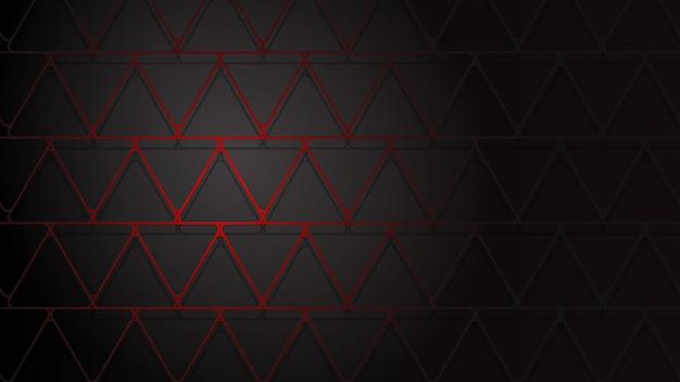 Ilustração abstrata de triângulos vermelhos escuros que se cruzam com sombras em fundo preto