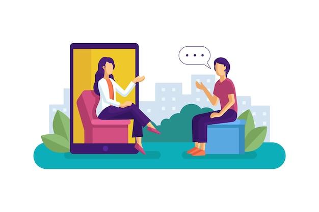Ilustração abstrata de videochamada com terapeuta