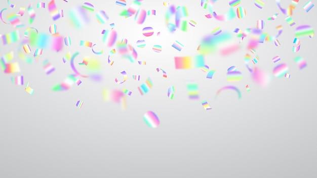 Ilustração abstrata de voar confetes coloridos brilhantes e pedaços de serpentina no fundo branco