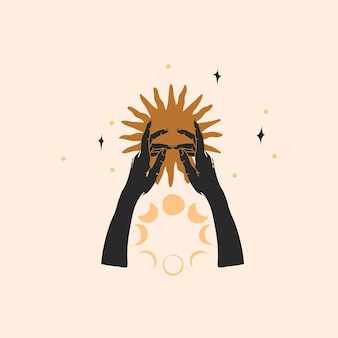Ilustração abstrata desenhada à mão, arte de linha mágica do sol dourado, silhueta de mão humana