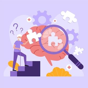 Ilustração abstrata do conceito de alzheimer