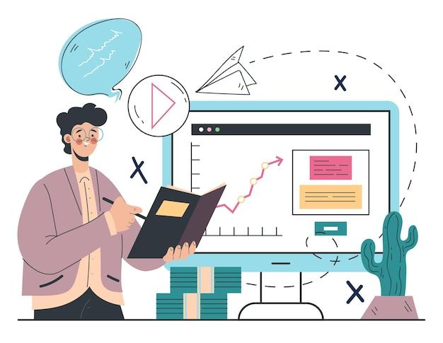 Ilustração abstrata do conceito de design gráfico de estratégia de marketing