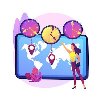 Ilustração abstrata do conceito de fusos horários. padrão de tempo, coordenação de negócios internacionais, gerenciamento de reuniões, conversor utc, gmt, calculadora do relógio mundial, jet lag