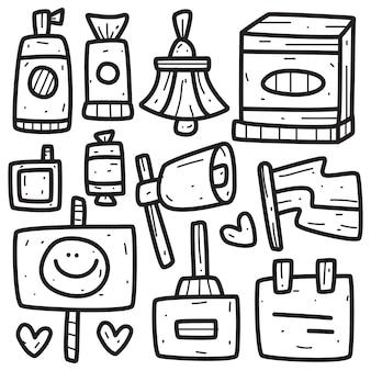 Ilustração abstrata do doodle kawaii dos desenhos animados