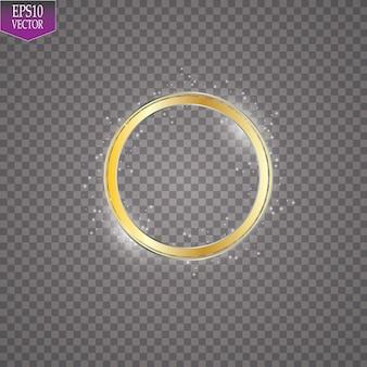 Ilustração abstrata do efeito de luz com moldura dourada cintilante