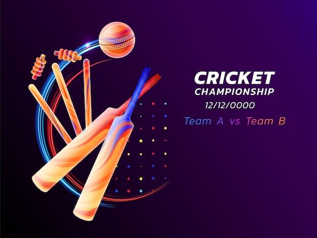 Ilustração abstrata do esporte de críquete com respingos de líquido colorido