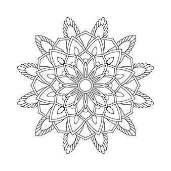 Ilustração abstrata do livro da página da coloração do arabesco da mandala. camiseta . fundo de papel de parede floral