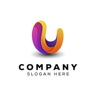 Ilustração abstrata do logotipo da letra u vetor premium