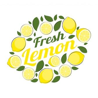 Ilustração abstrata do vetor de rótulo natural de limão
