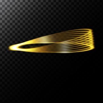 Ilustração abstrata do vetor de um efeito de luz na forma de um círculo dourado