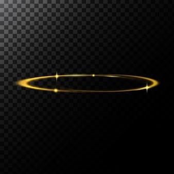 Ilustração abstrata do vetor de um efeito leve na forma de um círculo dourado