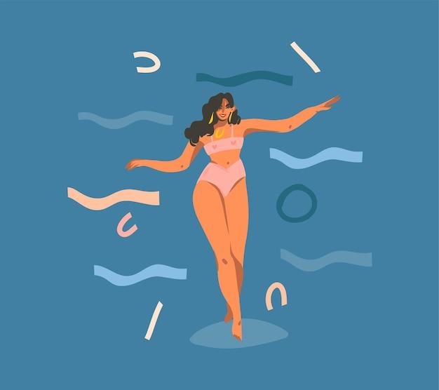 Ilustração abstrata dos desenhos animados com jovem sorridente, feliz e saudável, personagem feminina dançando