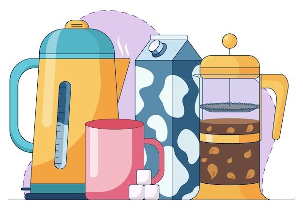 Ilustração abstrata dos desenhos animados de fazer chá de ervas com leite e açúcar e frenchpress com folhas