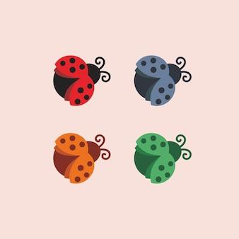 Ilustração abstrata dos desenhos animados joaninhas, inseto, símbolo de sinal colorido