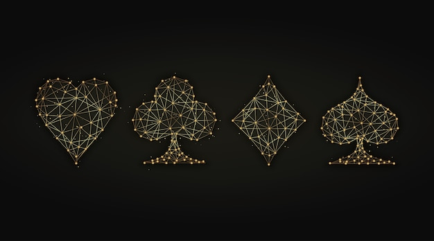 Ilustração abstrata dourada de naipes de baralho
