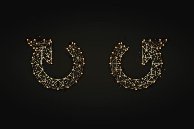 Ilustração abstrata dourada de setas de atualização ou atualização em fundo escuro.