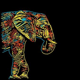 Ilustração abstrata elefante colorido