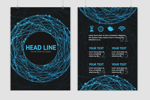 Ilustração abstrata esfera azul em um folheto de fundo preto