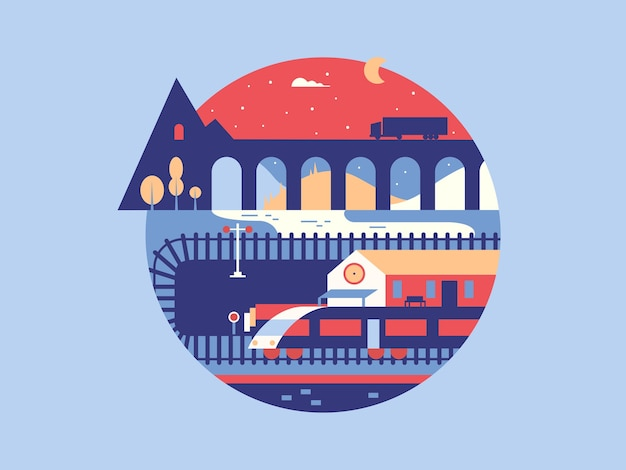 Ilustração abstrata ferroviária