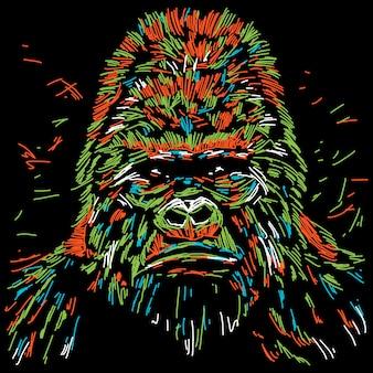 Ilustração abstrata gorila colorida
